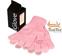 Перчатки для смартфона розовые