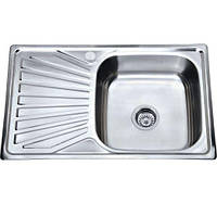 Врізна кухонна мийка з нержавіючої сталі PLATINUM 7848 Декор 0.8 мм.
