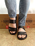 Комфортные чёрные кожаные сандалии Rondo, фото 5