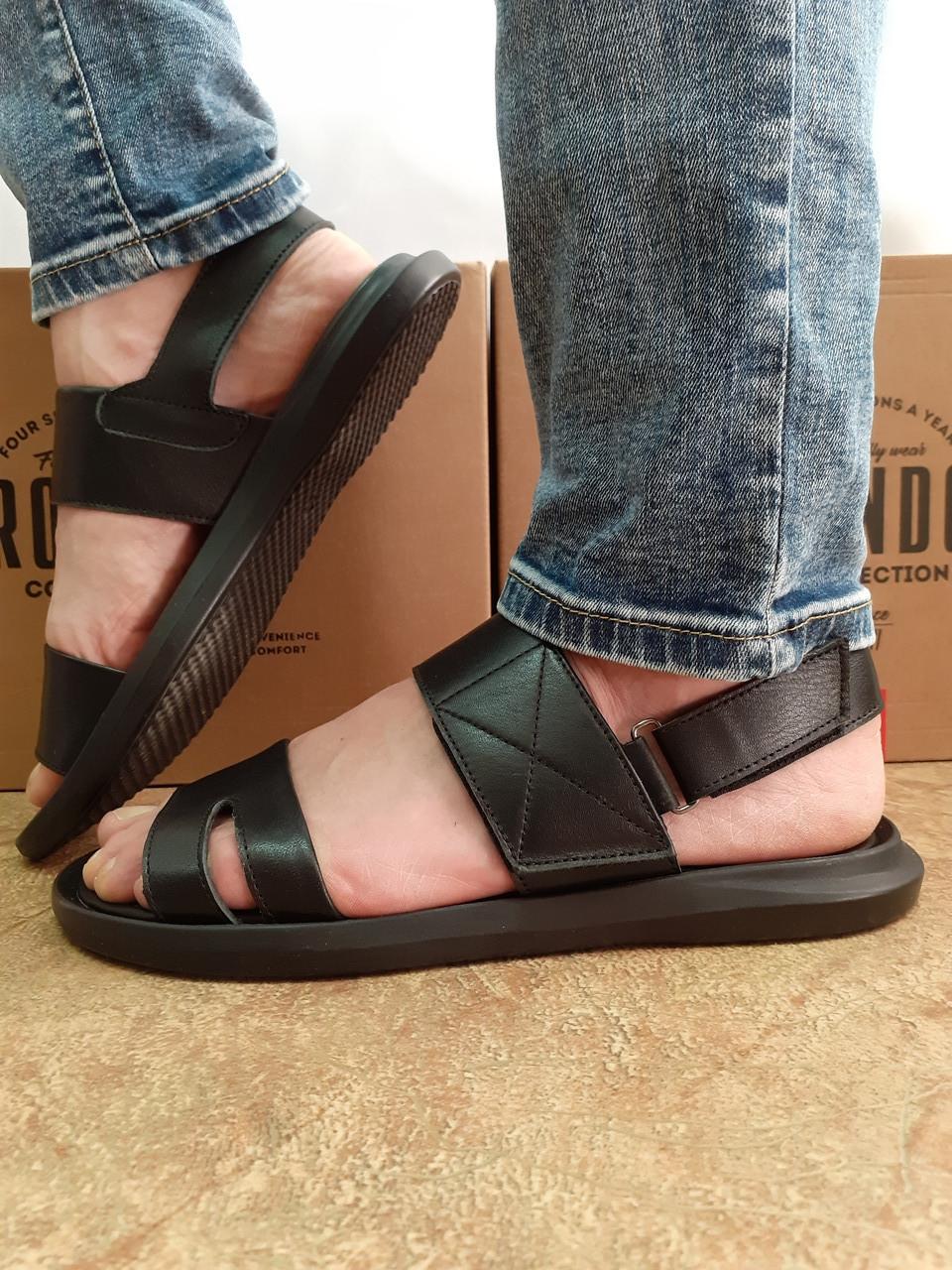 Комфортные чёрные кожаные сандалии Rondo