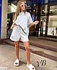 Жіночий модний літній прогулянковий костюм двійка (футболка оверсайз і шорти), фото 4