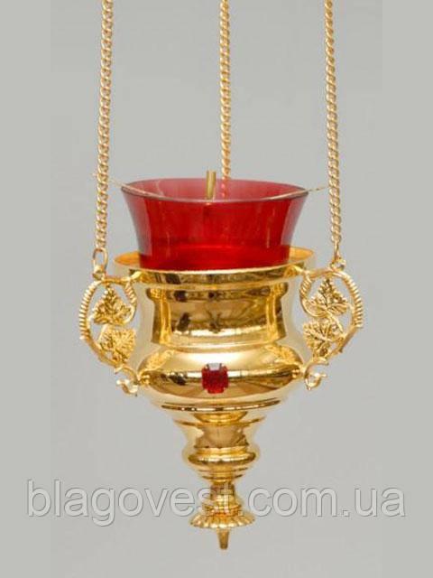 Лампада №11 синій склянку латунь лиття камені золочення