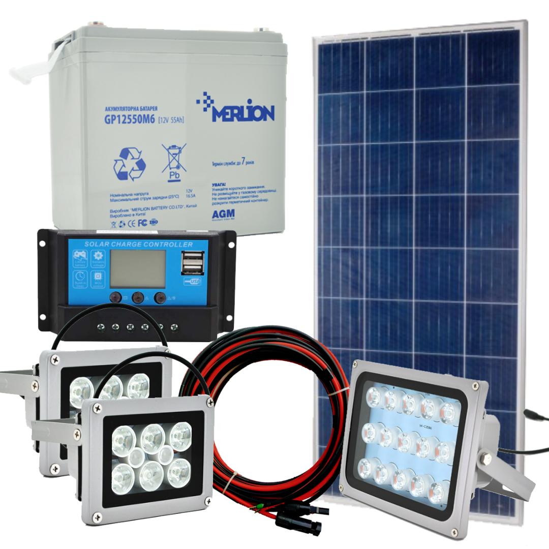 Комплект 160 Вт сонячної станції Світло-160 для автономного освітлення 12В + USB зарядка