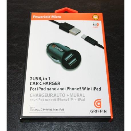 Мощное зарядное устройство Griffin PowerJolt для IPhone 5/5S,ipod,mini Черная