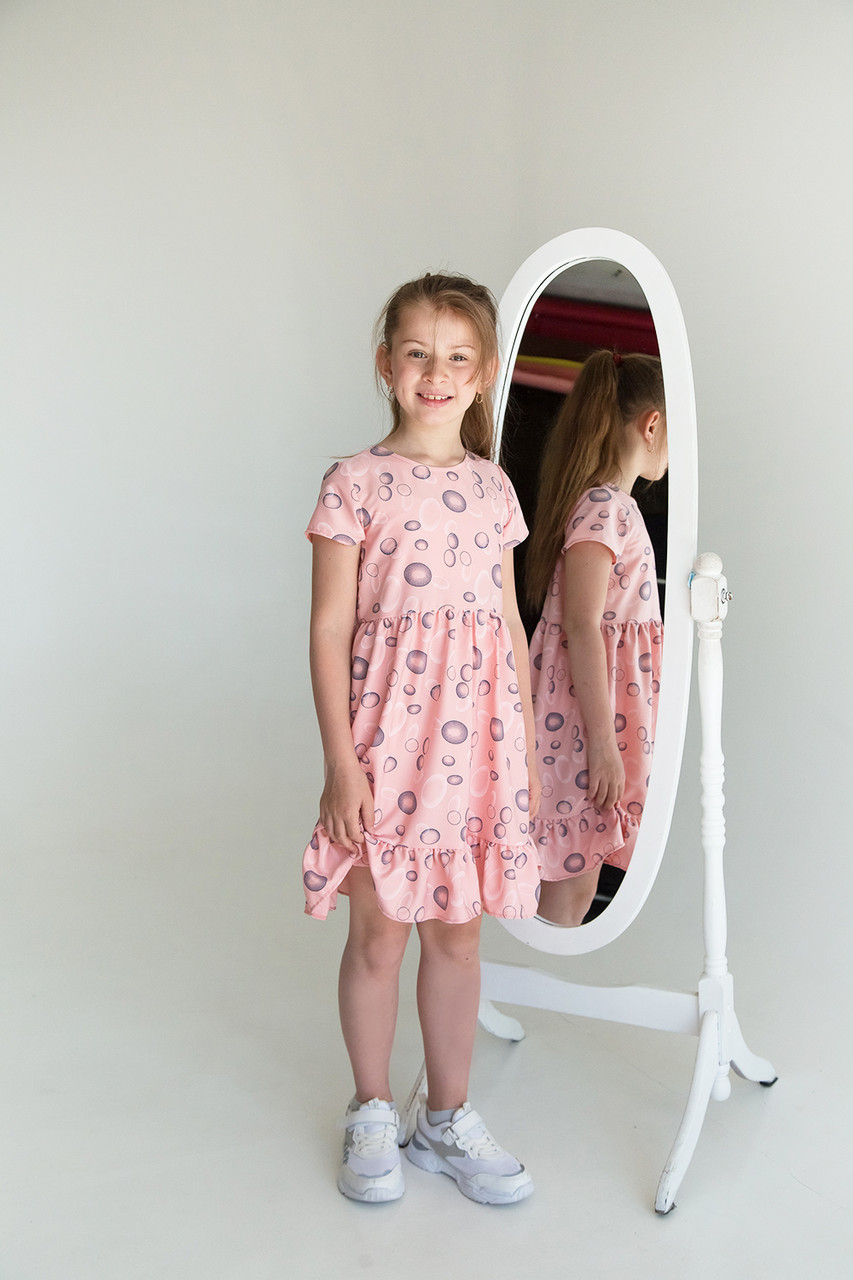Летнее платье для девочки SmileTime Bubbles, розовое