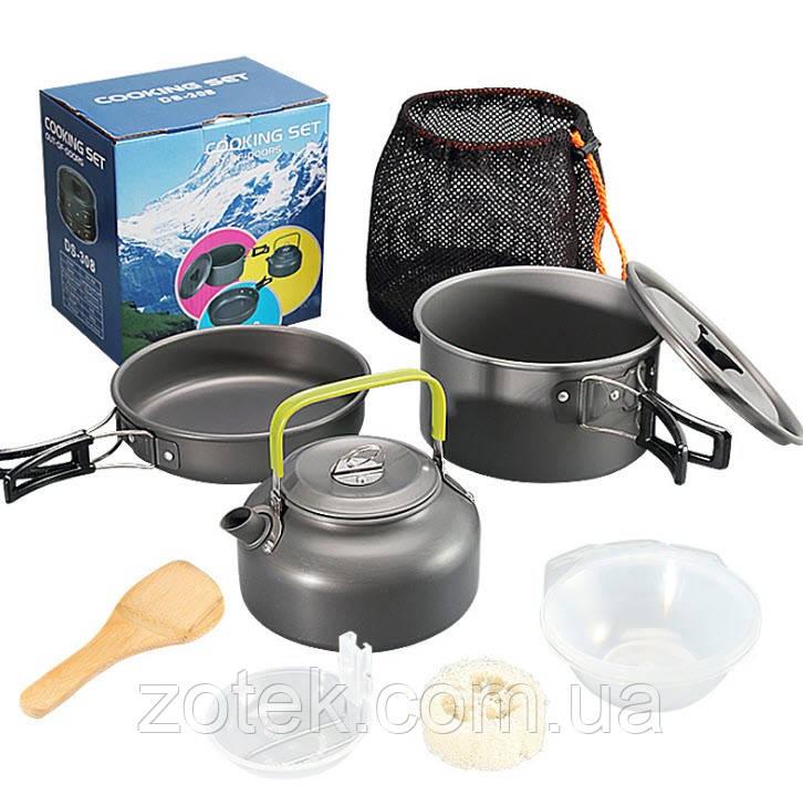Набор посуды DS-308 с чайником на 2-3 человек, из анодированного алюминия