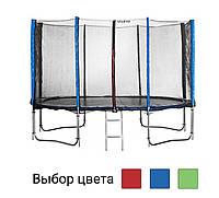 Батут спортивний Atleto 490 см з подвійними ногами захисною сіткою для відпочинку синій (12 опор сітки сходи), фото 1