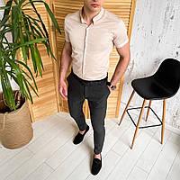 Мужской комплект рубашка и штаны, летний костюм мужской рубашка бежевая и брюки Solid