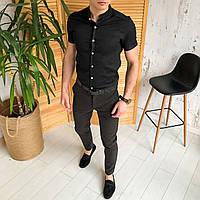 Мужской комплект рубашка и штаны, летний костюм мужской рубашка черная и брюки Solid