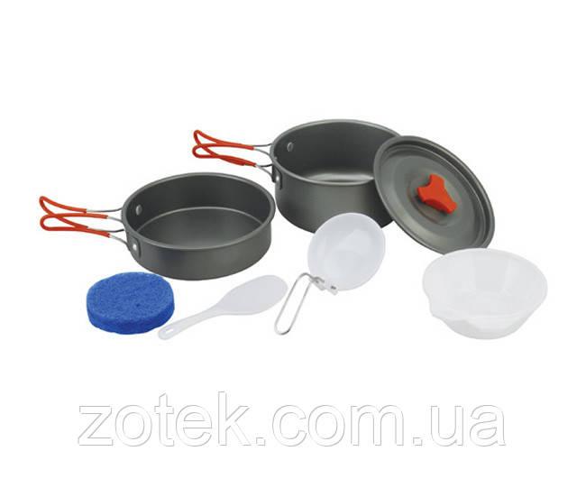 Набор посуды DS-200/1 Оранжевые ручки на 1-2 человек из анодированного алюминия туристический походный кемпинг