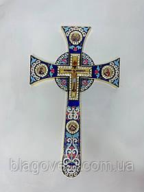 Хрест напрестольний мальтійська емаль з іконами (17х29см) синій