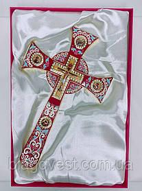 Хрест напрестольний мальтійська емаль з іконами (17х29см) червоний