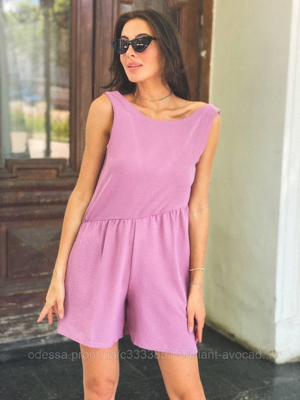 Женский модный летний льняной комбинезон с шортами, с открытой спиной
