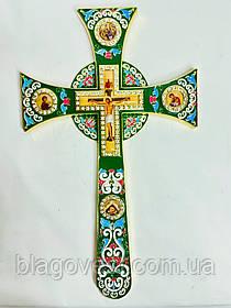 Хрест напрестольний мальтійська емаль з іконами (17х29см) зелений
