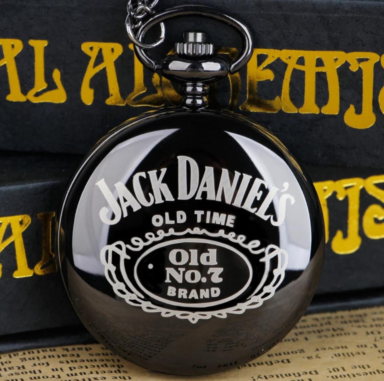 Карманные чёрные мужские часы на цепочке Jack Daniel's