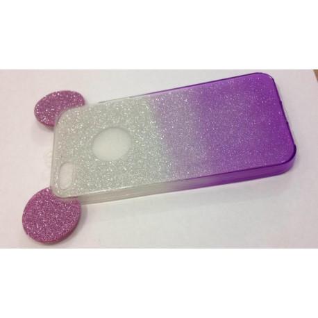 Силиконовый чехол с ушками Микки Мауса с градиентом  для  iPhone 5/5S/SE Фиолетовый