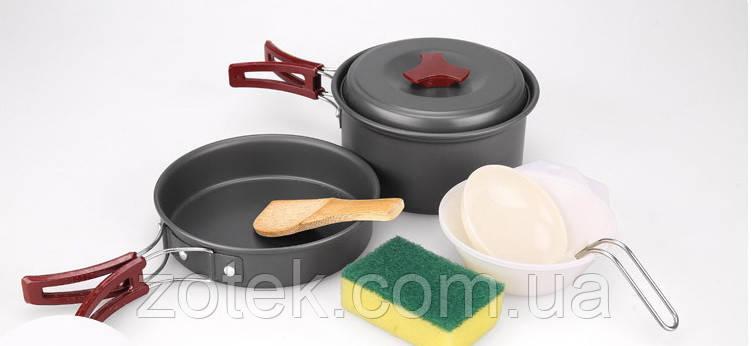 Набор посуды AL-200 на 1-2 человек из анодированного алюминия туристический походный кемпинг