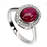 Серебряное кольцо с рубином, 1711КР, фото 3