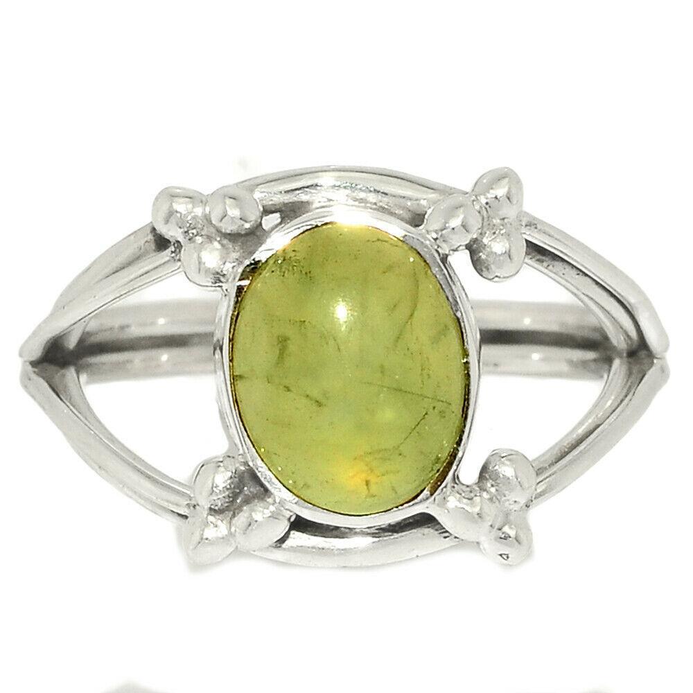 Серебряное кольцо с пренитом, 1716КП