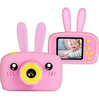 Детский фотоаппарат с ушками зайчик Сhildren`s fun camera, детская фотокамера игрушка для девочки, Розовый