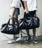 Большая кожаная сумка с отделом для обуви. Мужская сумка. Дорожная сумка на ремне.  ГС04-2