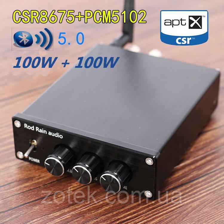 Rod Rain 100W+100W Bluetooth 5.0 CSR8675 Усилитель звука TPA3116D2 2.0 , DC 12-24В