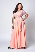 Нарядное праздничное женское платье в пол с гипюром 50-58