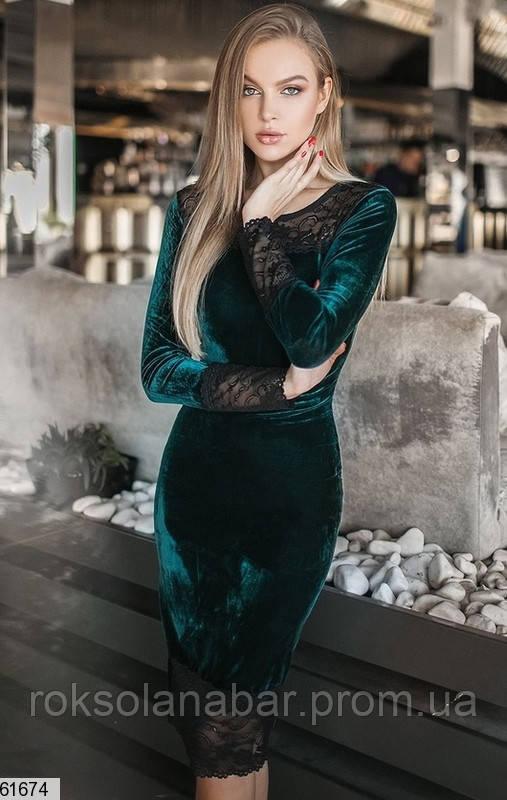 Жіноча оксамитова сукня кольору бутилка з мереживом