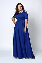 Модное красивое синее женское платье макси в пол р.52-58