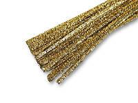Синельная проволока (шенил) Желтое золото 30 см 50 шт/уп, фото 1