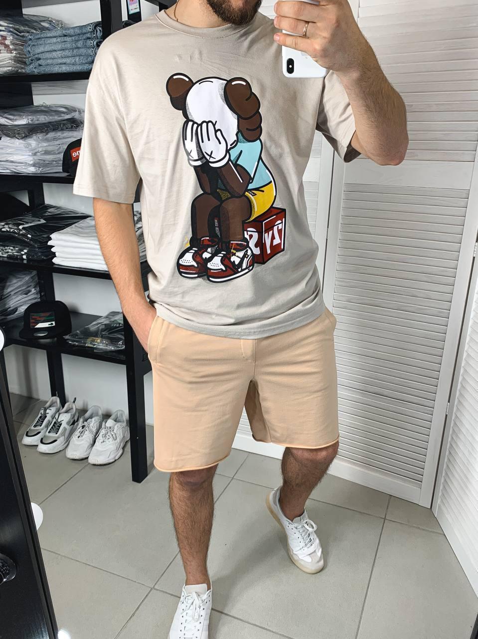 Мужские трикотажные шорты бежевого цвета