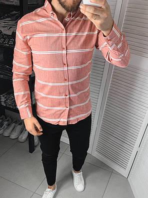 Чоловіча сорочка червоного кольору в смужку, фото 2