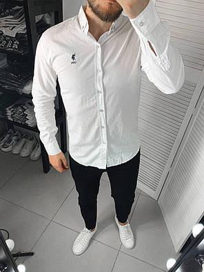 Мужская рубашка белого цвета однотонная, фото 2