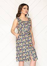 Женское платье батал, лен - стрейч, р-р 50; 52; 54 (тёмно синий)