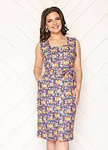 Жіноче плаття батал, льон - стрейч, р-р 50; 52; 54 (темно синій)