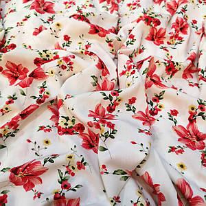 Ткань штапель принт красные лилии