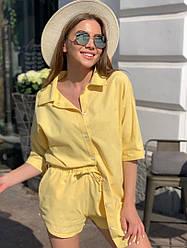 Літній жіночий лляний костюм двійка шорти+сорочка