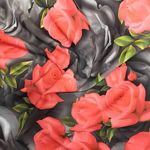 Ткань супер софт принт розы на сером