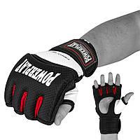 Рукавички для MMA PowerPlay 3075 Чорні-Білі M (SV)
