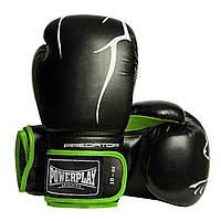 Боксерські рукавиці PowerPlay 3018 Чорно-Зелені 10 унцій Боксерские перчатки (SV)