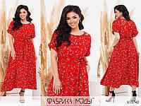 Красивое платье женское красное в цветочный принт PY/-1037
