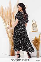 Красивое платье женское черное в цветочный принт PY/-1037