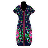 Летний красивый женский халат купон в цветочном принте с 44 по 70 размер