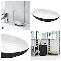 Керамическая мыльница IKEA EKOLN чёрная для ванной комнаты ИКЕА ЕКОЛЬН
