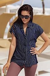 Летняя женская рубашка в полоску с коротким рукавом