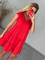 Красное летнее платье свободное, размеры от 42 до 50