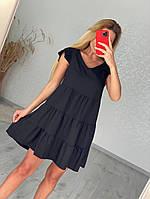Черное летнее платье свободное, размеры от 42 до 50