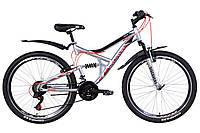 """Велосипед 26"""" Discovery CANYON 2021 (серебристо-черный с красным)"""
