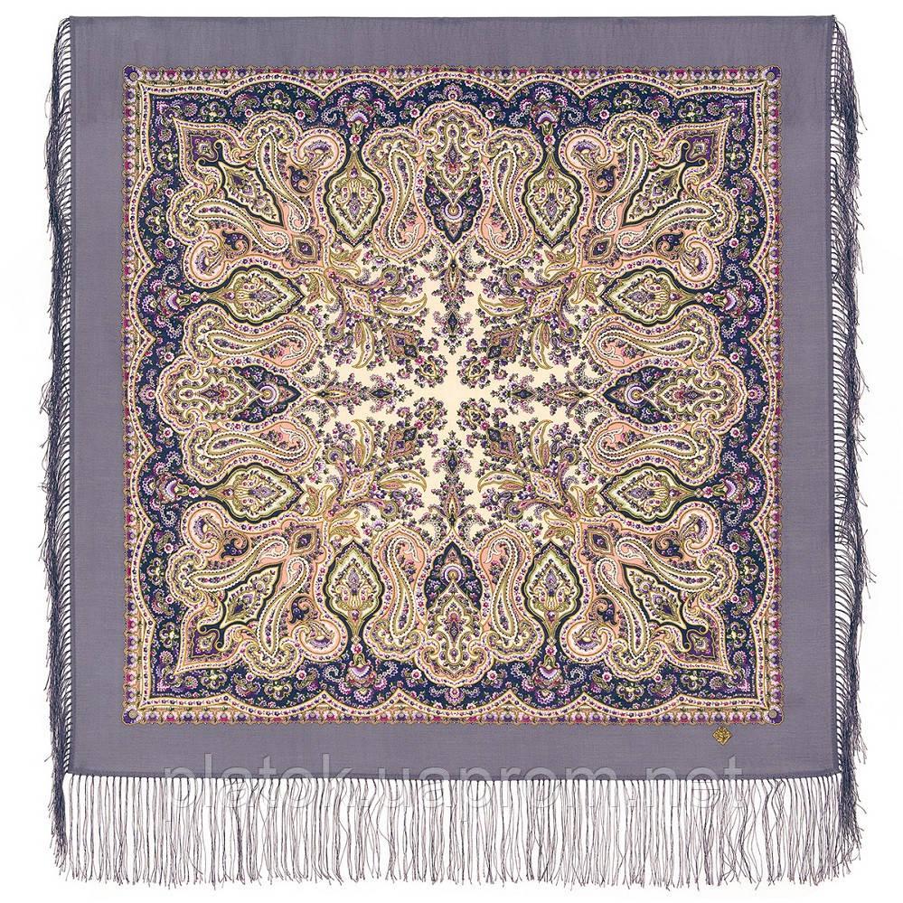 Северное лето 1923-15, павлопосадский платок шерстяной с шелковой бахромой