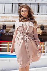 Жіноче літнє плаття-сорочка на кнопках довжини міді